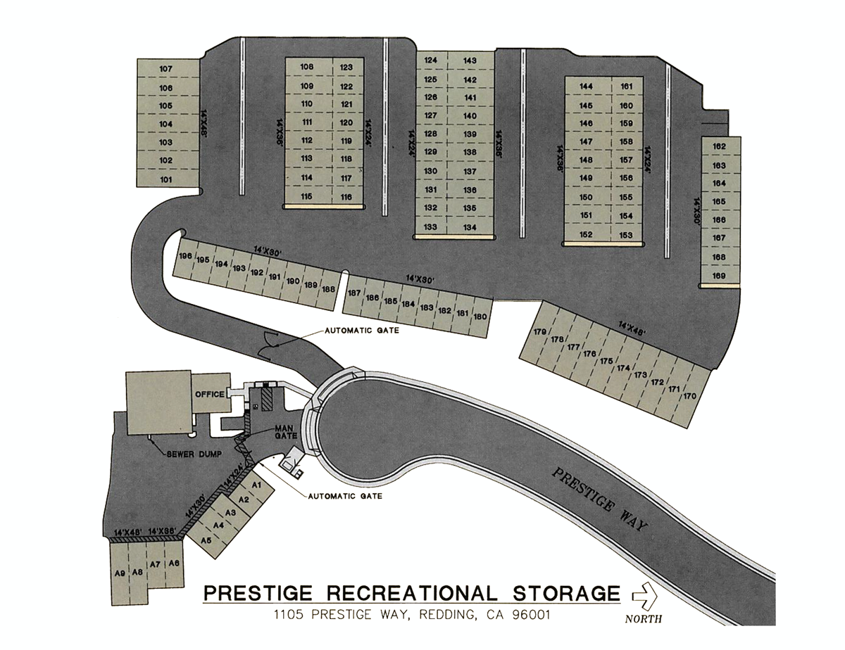 Map of Prestige Recreational Storage  sc 1 th 197 & Storage for your Boat RV off-road vehicle or home in Redding CA